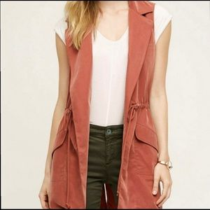 Anthropologie Elevenses Orange Vest Size L